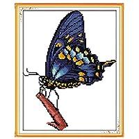 クロスステッチキットDIY刺繍セット バタフライ29x39cm 図柄印刷 初心者 ホームの装飾 風景 刺繍糸 針 ホームの装飾