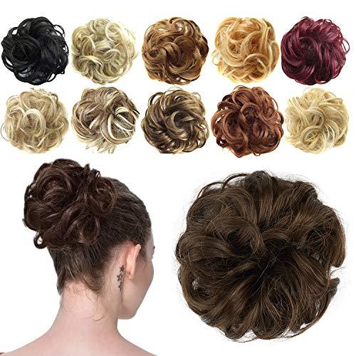 Feshfen Haargummi-Haarteil, für Haarknoten/Pferdeschwanz, Haarverlängerung, gewellt, unordentlicher Haarknoten, Dutt, Hochfrisur, Haarteil, A06 - Medium Chestnut Brown 8#