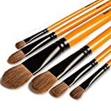 Pinceles para Pintura de artista, Rock Ninja 6 piezas, mango largo, pinceles perfectos para acuarelas, acrílicos, pintura al óleo, gouache