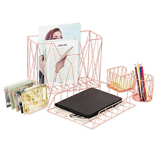 LIANTRAL Office Desk Organizer Set, 5-Piece Cute Desk Accessories Set with Pencil Cup Holder, Letter Sorter, Letter Tray, Hanging File Organizer, and Sticky Note Holder for Home or Office (Rose Gold)