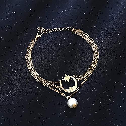 Nicute Boho gelaagde parel hanger Anklet strand gouden halve maan voet ketting voet sieraden voor vrouwen en meisjes