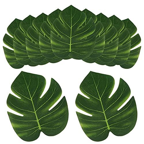Advantez Feuilles de palmier artificielles, fausses feuilles de jungle, feuilles de Monstera pour fête à thème tropical hawaïen, luau, safari, plage,...