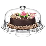 Godinger 6 in 1 Cake Stand and Serving Plate Platter with Dome Cover,...