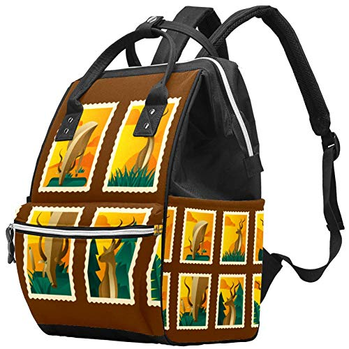 Mochila multifunción grande para pañales de bebé, diseño retro Kudu estampado, bolsa de pañales de viaje para mamá y papá