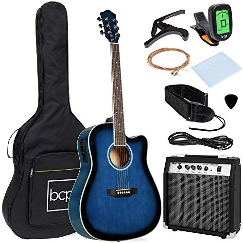 Best Choice Products Beginner Acoustic Electric Guitar Starter Set w/ 41in, All Wood Cutaway Design, Case, Strap, Picks, Tuner - Blue