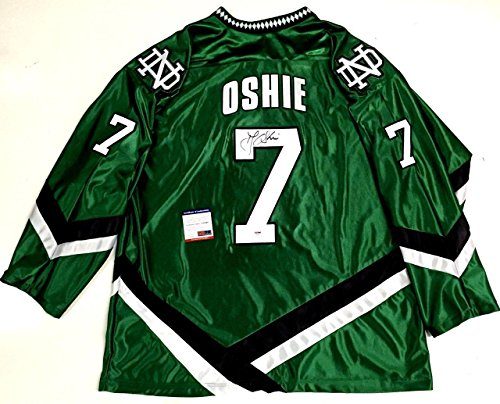 Tj Oshie Signed North Dakota Fighting Sioux Green Jersey Psa/dna Coa Capitals - Autographed NHL Jerseys