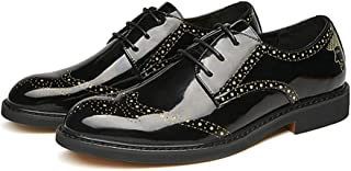 XinQuan Wang Oxfords for Men Brogue Carving Shoes Lace up Microfiber Leather Rubber Sole Pointed Toe Stitching Non-Slip Glittering Rhinestone (Color : Gold, Size : 7 UK)