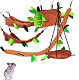 FunMove Hamster Hammock Rat Bird Parrot Hanging Warm Bed House Cage Nest Accessories Forest Pattern Cage Toy Leaf Hanging Tunnel and Swing for Sugar Glider Squirrel Hamster Playing Sleeping Pack of 5