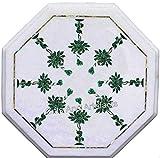 Gifts And Artefacts Mesa de centro de mármol para patio con piedras preciosas de malaquita