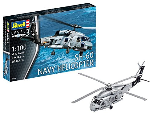 Revell Modellbausatz Hubschrauber 1:100 - SH-60 Navy Helicopter im Maßstab 1:100, Level 3, originalgetreue Nachbildung mit vielen Details, Helikopter, 04955