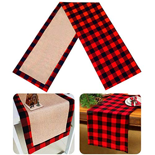 Senneny Christmas Table Runner Burlap & Cotton Black White Plaid Reversible Buffalo Check Table Runner for Christmas Holiday Birthday Party Table Home Decoration (Red and Black, 14 x 72 Inch)
