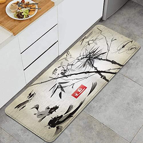 HARXISE Tappeto antiscivol,Artistico Giapponese Uccelli Pesci e Foglie di bambù Pittura Astratta Stile Orientale,da Usare Come zerbino o per Soggiorno,Camera da Letto,corridoio,Cucina