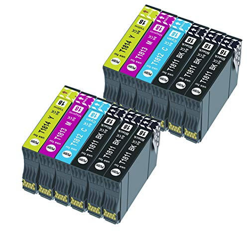 Caidi Reemplazo de Cartucho de Tinta Compatible para 18XL for Expression Home XP-215 XP-225 XP-302 XP-305 XP-312 XP-315 XP-322 XP-405 XP-412 XP-422 XP-425 (12 Paquete)