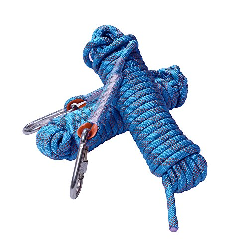 Rock Climbing Rope, 12mm Diameter Static Outdoor Hiking Accessories High Strength Cord Safety Rope (10m,32ft)(20m,65ft) (30m,98ft) (Blue, 32ft)