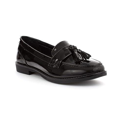 13aed2ecd66 Lilley Womens Black Patent Slip On Brogue Shoe
