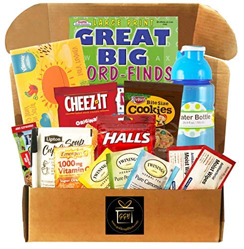 Get Well - Feel Better Soon Gift Care Package - Includes Soup, Tea, Tissue, Cough Drops, Water Bottle, Snacks, More (Get Well Cheer - Send to Those with Flu, Allergies, Cold)