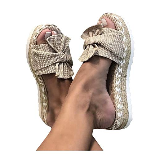Aniywn Summer Bow Tie Flip Flops Flat Espadrille Platform Wedge Sandals for Women Casual Breathable Open Toe Sandals Khaki