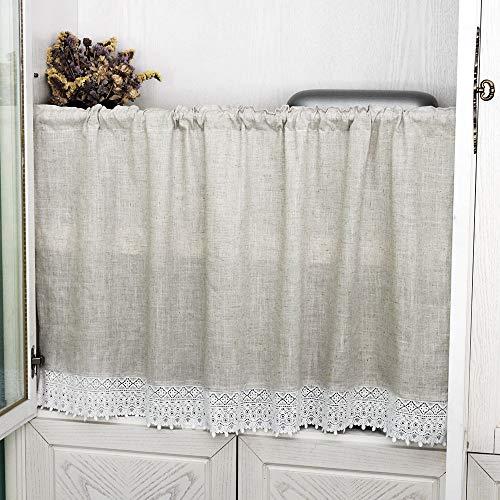 choicehot - Cortinas estilo rústico de ganchillo de lino romántico, retro, de algodón, borla, para cocina, vintage, elegante, corto, beige, decoración de ventana, 1 unidad 90 x 120 cm (alto x ancho)