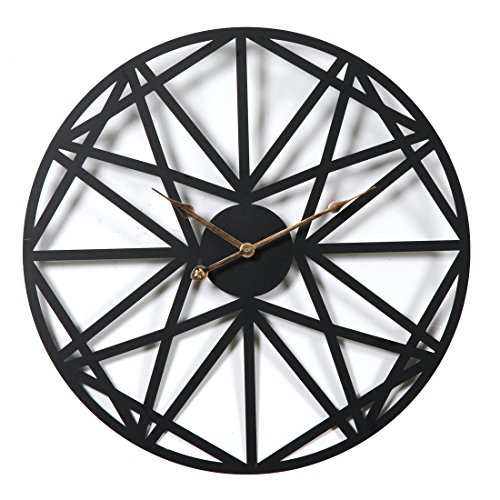 Teckpeak Horloge murale XXL - Noire - Silencieuse - Vintage - 50 cm