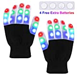 TOBEHIGHER Children LED Gloves - LED Finger Light Gloves, 3 Colors 6 Light Modes Colorful Up Finger Lights Gloves with 4 Extra Batteries, Flashing Christmas Halloween Party Toys (Kids Ages 5-12)