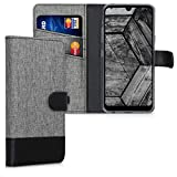 kwmobile Wallet Case Compatible with LG Q60 - Fabric Faux