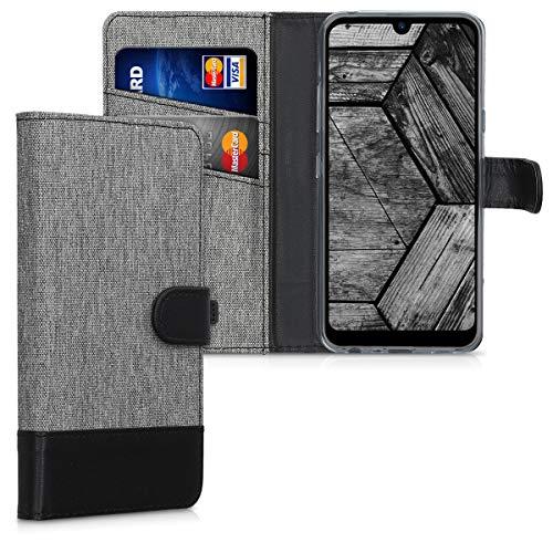 kwmobile Carcasa Compatible con LG Q60 - Funda Protectora con Tapa Tarjetero y Soporte - Gris/Negro