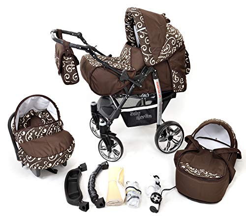 Sportive X2, 3-in-1 Travel System incl. Baby Pram with Swivel Wheels, Car Seat, Pushchair & Accessories (3-in-1 Travel System, Brown & Wawy Lines)