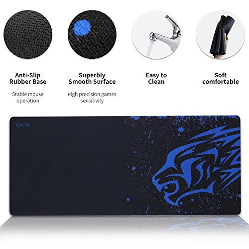 YISK Gaming Mouse Pad XL 700x300x2mm, erweiterte Tastatur mit rutschfester Gummibasis für PC, Computer und Laptop (Blue Leopard)