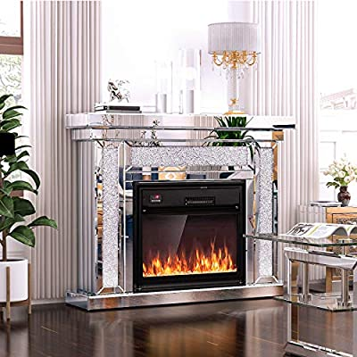 Mecor Mirrored Mantel Freestanding Electric Fireplace Heater Corner Firebox w/3D Realistic Flame Effect Mirrored Color Changing Electric Fireplace w/Remote Control (Silver)