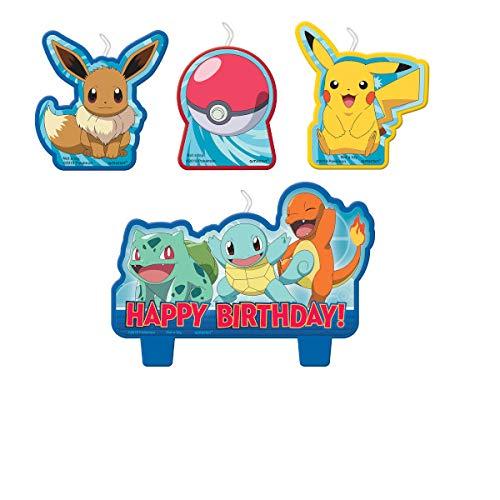 Amscan Pokemon 172408 Geburtstagskerzen-Set – 4 Stück