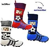 alles-meine.de GmbH 1 Stück _ XL Fußball _Filzstrumpf -  Fußballschuhe - ROT / BLAU - mit austauschbaren Foto  - 45 cm - Bilderrahmen / Sportverein - Fotosocke - Deko - Stollen..