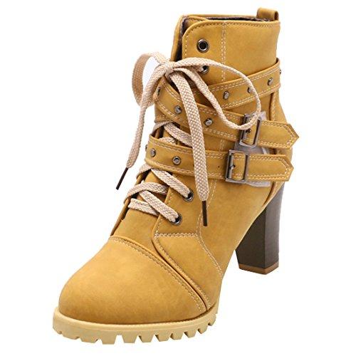 Artfaerie Damen Blockabsatz Ankle Boots Plateau High Heels Stiefeletten mit Schnürung und Schnalle...