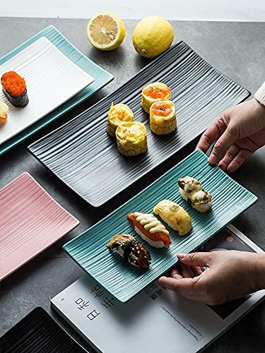Vajilla tazones Ensaladeras Plato rectangular cuadrado de cerámica para sushi, plato de comida occidental, bandeja para hornear, pastel de frutas, postre, merienda, vajilla de cocina japonesa