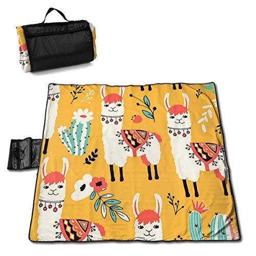 GuyIvan Couverture de Pique-Nique de Plage Lovely Llama Cactus Weather-Proof Outdoor Handy Mat Folding Tote RV Quick Dry Bag