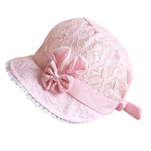 Covermason Baby Sonnenhut Mädchen Junge Sommerhut mit Breiter Krempe, Atmungsaktiver Sommermütze, UV Schutz 50, Kopfumfang verstellbar (Rosa)