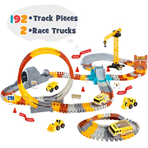 VEARMOAD Race Car Track Toy 225 Pieces, Flexible Race Tracks Playset for Boys, Track Toy with 2 Cars, Construction Track Toy Learning Toy for Kids