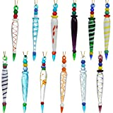 JOYIN 12Pcs Colorful Icicle Glass Ornaments, Christmas Glass Ornaments for Christmas Tree Decorations 3.5-3.7' Long Glass Ornaments in 12 Different Designs