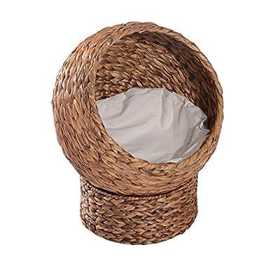 "PawHut 24"" Natural Braided Banana Leaf Elevated Cat Bed Basket"