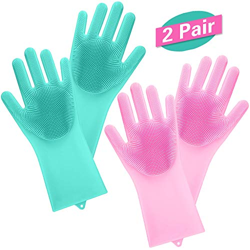 Magische Silikon-Handschuhe mit Wash Scrubber 2 Paar, wiederverwendbare Bürste hitzebeständige Handschuhe Küche Werkzeug für die Reinigung, Haushalt, Geschirrspülen, das Auto waschen, Pet Haarpflege.