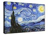 canvashop Quadri Moderni Van Gogh La Notte Stellata cm 100x70 Stampa su Tela Canvas