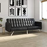 DHP Emily Convertible Futon and Sofa Sleeper, Modern Style with Tufted Cushion, Arm Rests and Chrome Legs, Quickly Converts into a Bed - Black Faux Leather