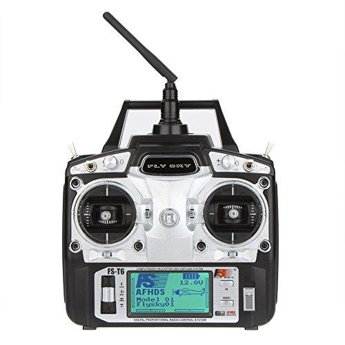 GoolRC Flysky FS T6 di Alta precisione modalità 6CH 2.4GHz 2 del trasmettitore W / Ricevitore R6-B per RC Multirotor Quadcopter Elicottero Aereo Aliante Car