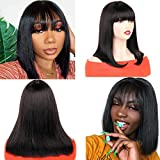 Huarisi 9a Natural Straight Bob Peluca 12 Inch Real Hair Wigs for Black Women Shoulder Length Human Hair Wigs Bob No Lace 100% Unprocessed Brazilian Hair Short Natural Color with Bangs