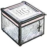 J Devlin Box 631 EB 212-2 Monogrammed Stained Glass Personalized Keepsake Jewelry Box with Cross Charm