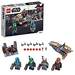 Features 4 Star Wars Mandalorian warrior minifigures, each with stud-shooting blasters Includes a defense fort with an attachment point for a blaster, and a speeder bike Fire the stud blasters then seat the trooper on a stud-shooting speeder Kids can...