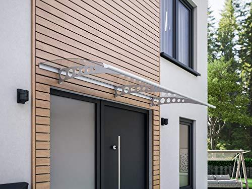 Schulte Pultbogenvordach Style Plus, 200 x 90 cm, 3 mm Polycarbonat Platte Klar, Wandhalterung Edelstahl V2a, Vordach Haustür Überdachung, EP1120-20-21