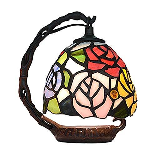 SWNN lámpara de mesa Lámpara De Mesa Tiffany Style Resina Vidrio Restauración Natural Maneras Antiguas Holiday Rose Gift W15 * H20CM