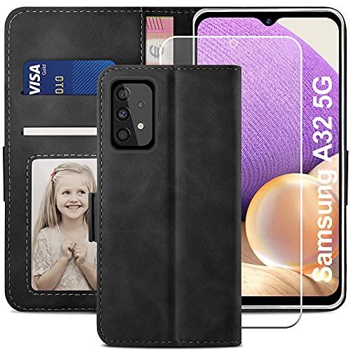 YATWIN Handyhülle Samsung Galaxy A32 5G Hülle +1 Stück Panzerglas Schutzfolie, Klapphülle Samsung A32 5G Premium Leder Brieftasche Schutzhülle [Kartenfach][Stand] Handytasche Hülle für A32 5G, Schwarz