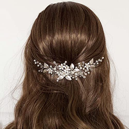 Mayelia Diadema de novia de perlas para novia, pelo de vid con...