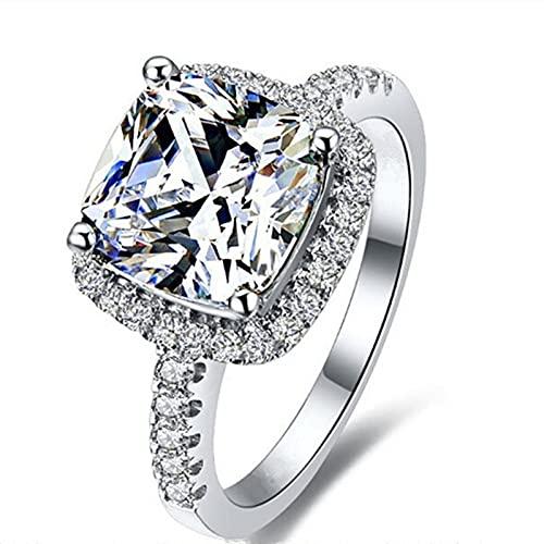 GYAM Anillo Anillo De Plata De Ley 925 con Incrustaciones Finas De Diamantes Cuadrados De 3 Quilates para La Boda Y El Vestido De Compromiso A Juego,7